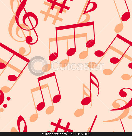 Music notes. Seamless wallpaper. stock vector clipart, Music notes. Seamless wallpaper. by aarrows