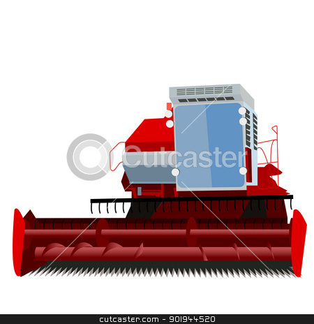 combine harvester  stock vector clipart, combine harvester on a white background by aarrows