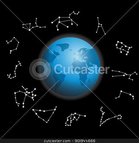 constellations around the globe vector illustration stock vector clipart,  constellations around the globe vector illustration by aarrows