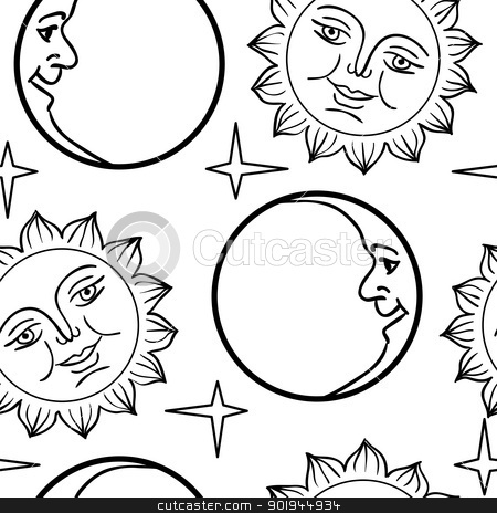 Seamless wallpaper the Moon and Sun with faces   stock vector clipart, Seamless wallpaper the Moon and Sun with faces  vector background by aarrows