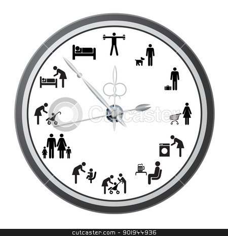 Clock of icons of people. stock vector clipart, Clock of icons of people, the concept of the working day. Vector illustration. by aarrows