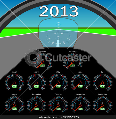 Stylish calendar  in the form of instruments in the cockpit for  stock vector clipart, Stylish calendar  in the form of instruments in the cockpit for 2013.  by aarrows