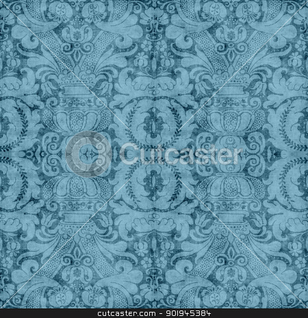 Vintage Blue Tapestry  stock photo, Worn blue tapestry pattern  by SongPixels
