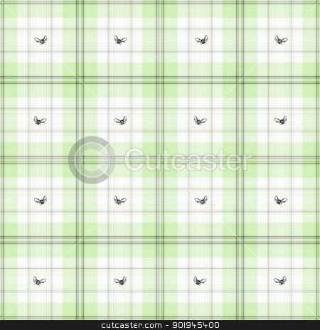 Bees & Mint Green Plaid stock photo, Seamless pastel mint green plaid with small flying bees. by SongPixels