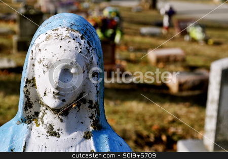 Gravesite - Mary statue - background - close-up stock photo, Gravesite - Mary statue - background - close-up by Liane Harrold