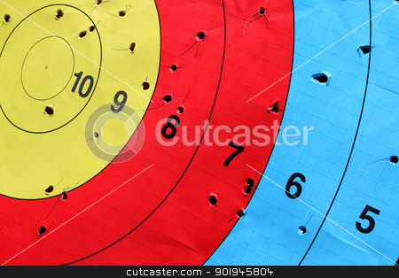 Target stock photo, Close-up of used archery target set on position on archery range by vaximilian