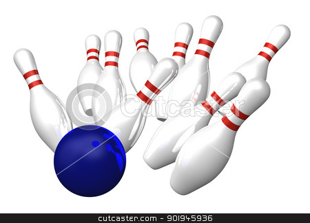 bowling stock photo, bowling pins and ball - 3d illustration by J?