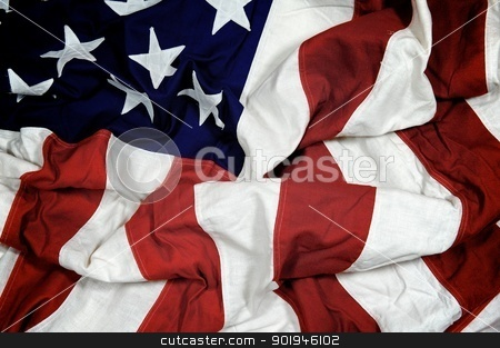 Crumpled American Flag stock photo, A crumpled American flag with muted tones by Shane Morris