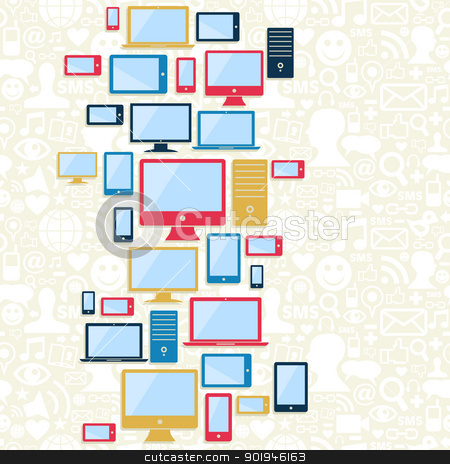 Computer, mobile and tablet icons pattern stock vector clipart, Gadgets icons seamless pattern over social media background. Vector illustration layered for easy manipulation and custom coloring. by Cienpies Design