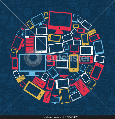 Computer, mobile phone and tablet circle stock vector clipart, Gadgets icons circle shape over social media pattern background. Vector illustration layered for easy manipulation and custom coloring. by Cienpies Design