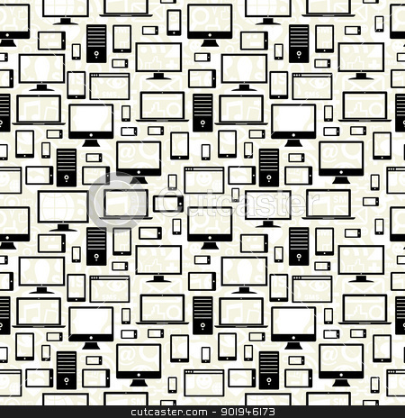 Mobile, computer and tablet icons seamless pattern stock vector clipart, Black gadgets icons seamless pattern over social media background. Vector illustration layered for easy manipulation and custom coloring. by Cienpies Design