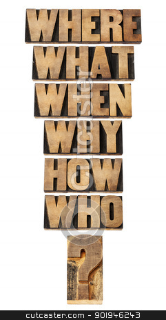 questions collage in wood type stock photo, who, what, where, when, why, how questions  - brainstorming or decision making concept - a collage of isolated words in vintage letterpress wood type by Marek Uliasz