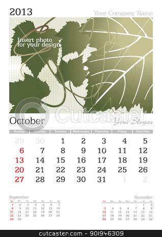 October 2013 A3 calendar stock vector clipart, 2013 A3 calendar - vector illustration by ojal_2