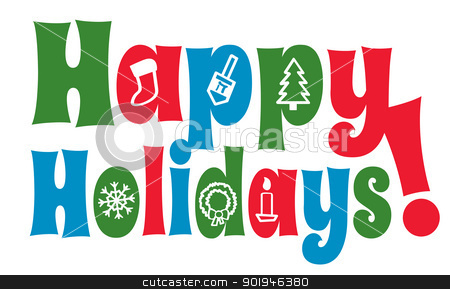 Happy Holidays with Icons stock vector clipart, The greeting Happy Holidays with various holiday shapes forming the insides of certain letters. by Jamie Slavy