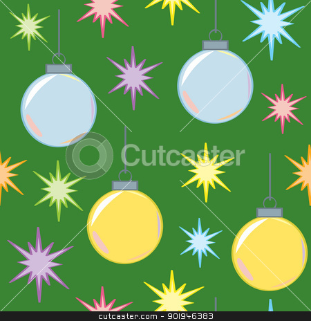 Seamless Christmas Lights and Ornaments stock vector clipart, A seamless pattern of Christmas holiday multicolored lights and silver and gold ornaments or bulbs on a green background. by Jamie Slavy