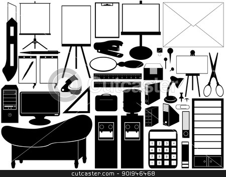 office tools stock vector clipart, illustration of different black  office tools isolated on white by Iliuta