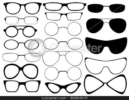 glases stock vector clipart, illustration of different black glases tools isolated on white by Iliuta