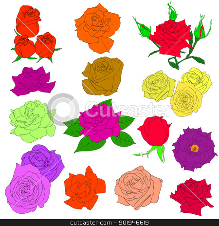 Set of  in hand drawn style roses. Vector EPS 10 illustration. stock photo, Set of  in hand drawn style roses. Vector EPS 10 illustration. by aarrows