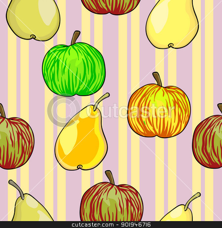 Seamless fruit pattern apples and pears   stock photo, Seamless fruit pattern apples and pears  vector illustration by aarrows