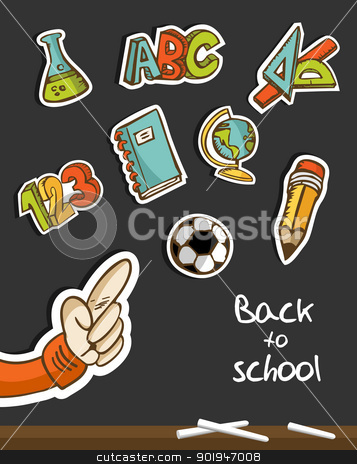 Back to School icons and hand on blackboard stock vector clipart, Back to School icon set sketch in blackboard with kid hand pointing. Vector illustration layered for easy manipulation and custom coloring. by Cienpies Design