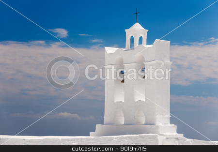 Belfry from a chapel on the island of Sifnos stock photo, Belfry from one of the numerous chapels on the Greek island of Sifnos by Andreas Karelias