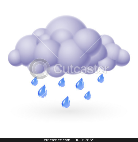 Rain stock photo, Single weather icon - Bubble Cloud with Rain by dvarg
