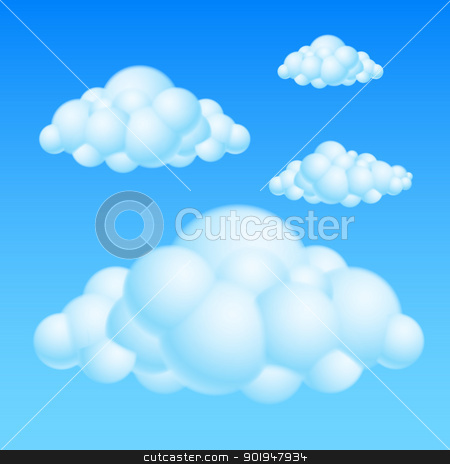 Cartoon clouds stock photo, Cartoon Bubble Clouds. Illustration on white background for design by dvarg
