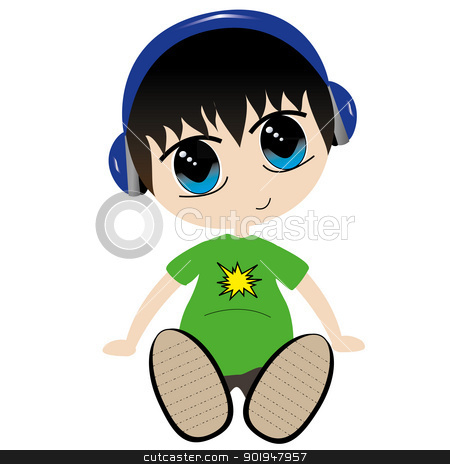 Listen Up stock vector clipart, Vector illustration of a boy listening to headphones by William Robson