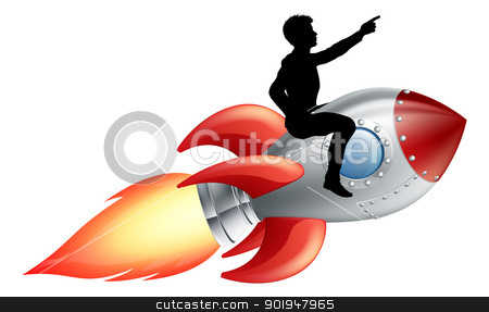Businessman riding rocket ship stock vector clipart, A businessman seated riding a rocket. Concept for innovation, success or breaking new ground in business.  by Christos Georghiou