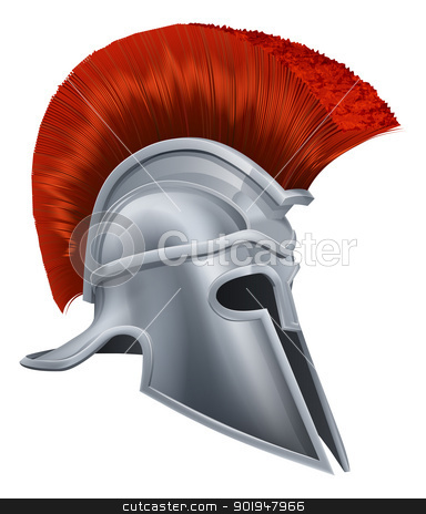 Corinthian helmet stock vector clipart, Illustration of a bronze Trojan Helmet, Spartan helmet, Roman helmet or Greek helmet. Corinthian style. by Christos Georghiou