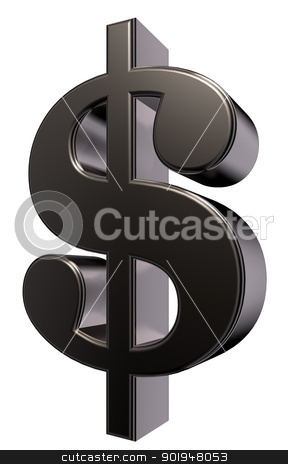 dollar symbol stock photo, metal dollar symbol on white background - 3d illustration by J?
