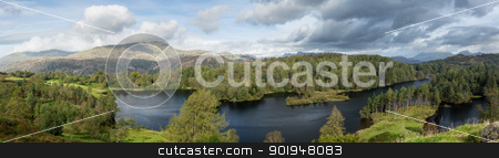 View over Tarn Hows in English Lake District stock photo, Panoramic view over Tarn Hows in English Lake District by Steven Heap