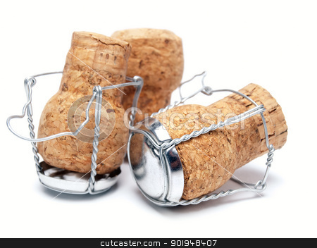 Champagne corks stock photo, Champagne corks on a white background. by Sinisa Botas
