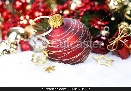 Christmas composition stock photo, Christmas ball and Christmas tree with decorations by klenova
