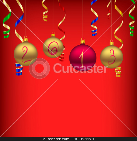 Happy New Year 2013 stock vector clipart, New year background with christmas baubles by Olga Osipova