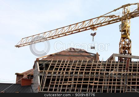 crane stock photo, building a house. crane by Oleksandr Pakhay