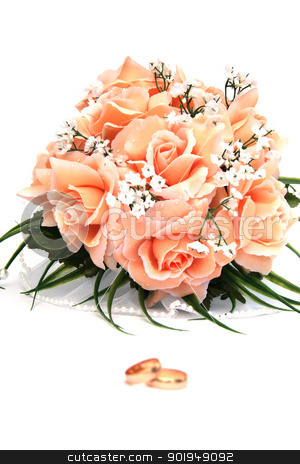 rose stock photo, On a photo a rose and wedding rings by Oleksandr Pakhay