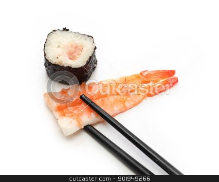 Sushi stock photo, delicious sushi and chopsticks isolated on white by Oleksandr Pakhay