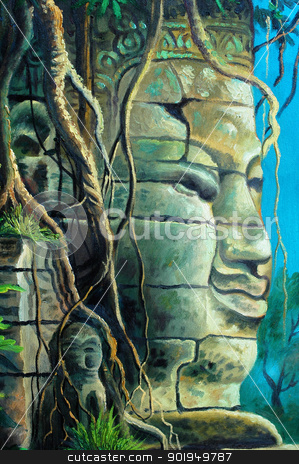 Buddha stock photo, Buddha portrait at Angkor,Cambodia by John Young