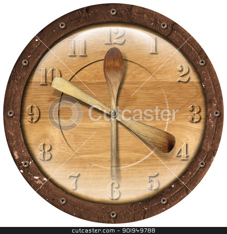 Wooden Clock Lunch Time stock photo, Old grunge clock with ladles - concept lunch time on white background  by catalby