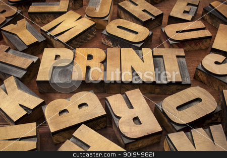 print concept in wood type stock photo, print concept in vintage letterpress wood printing blocks by Marek Uliasz