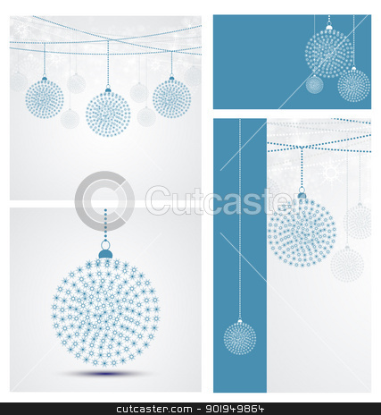 Christmas backgrounds stock vector clipart, Set Christmas backgrounds with decorations of snowflakes by Miroslava Hlavacova