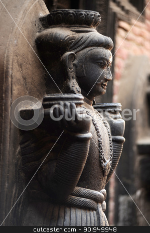 Historical sculptures of buddha stock photo, Landmark of historical sculptures of buddha in Kathmandu Nepal by John Young