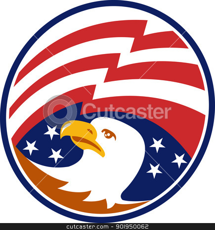American Bald Eagle With Flag stock vector clipart, Illustration of an American bald eagle head looking to side with stars and stripes flag set inside circle. by patrimonio