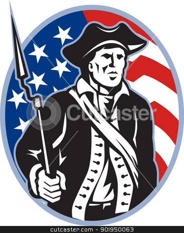 American Patriot Minuteman With Bayonet Rifle And Flag stock vector clipart, Illustration of an American patriot minuteman revolutionary soldier with musket bayonet rifle and stars and stripes flag set inside ellipse done in retro style. by patrimonio