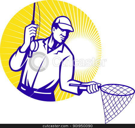 Fly Fisherman Fishing Net Retro Woodcut stock vector clipart, Illustration of a fly fisherman fishing rod reeling and net set inside circle done in retro woodcut style. by patrimonio