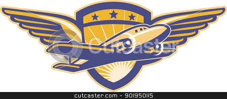 Propeller Airplane Shield Wings Retro stock vector clipart, Illustration of a vintage propeller airplane flying with wings and shield in background done in retro style. by patrimonio