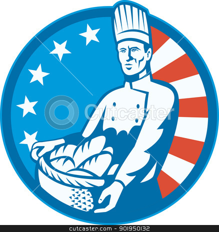 American Chef Baker Cook With Basket Loaf Bread stock vector clipart, Illustration of an American chef baker cook holding a basket full of bread loaf with stars and stripes flag in background set inside circle done in retro style. by patrimonio