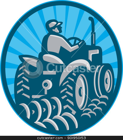 Farmer Plowing With Tractor Retro stock vector clipart, Illustration of a farmer plowing with vintage tractor viewed from the rear set inside oval done in retro style. by patrimonio