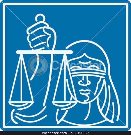 Lady Blindfolded Holding Scales of Justice stock vector clipart, Illustration of a woman lady with blindfold holding weighing scales of justice set inside square done in retro style. by patrimonio